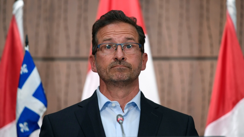 Bloc Quebecois Leader Yves-Francois Blanchet participates in a news conference responding to an allegation of sexual misconduct that was posted on social media, on Parliament Hill in Ottawa, on Sunday, July 19, 2020. THE CANADIAN PRESS/Justin Tang