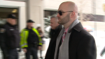 Ottawa police Const. Daniel Montsion enters court in February 2019. Montsion has pleaded not guilty to charges of manslaughter, aggravated assault, and assault with a weapon in the  2016 death of Abdirahman Abdi.