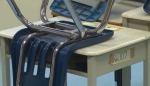 An overturned desk in a Calgary school during the COVID-19 pandemic