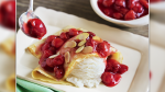 Crêpes with Ice Cream and Cherry Topping