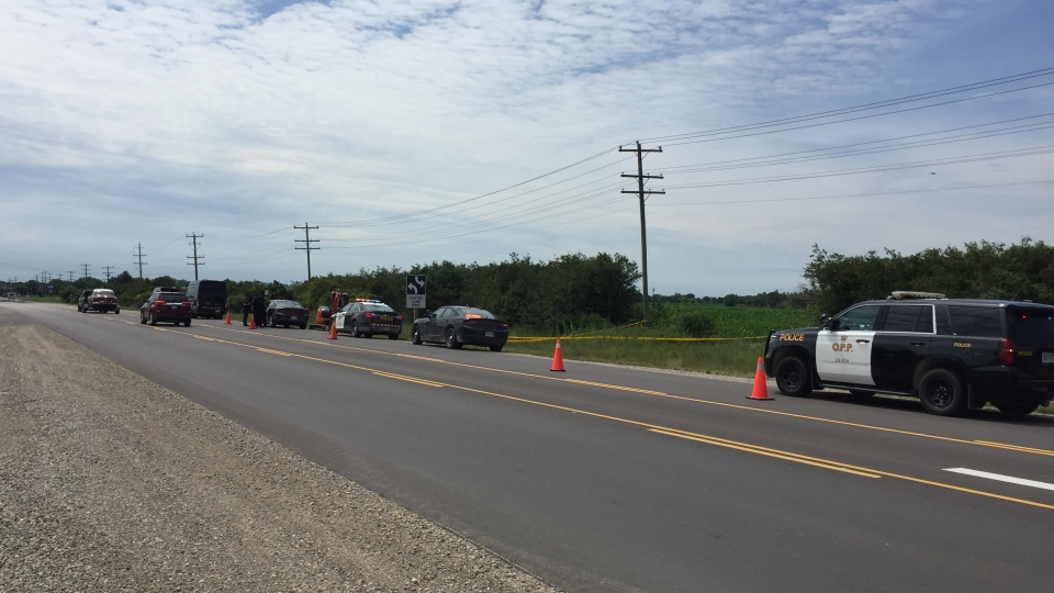 OPP investigate a sudden death north of Strathroy, Ont. on Tuesday, July 21, 2020. (Bryan Bicknell / CTV News)