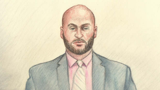 Ottawa Police Constable Daniel Montsion as he appeared via Zoom video conferencing during closing arguments of his trial. Montsion has pleaded not guilty to charges of manslaughter, aggravated assault and assault with a weapon in relation to the fatal arrest of Abdirahman Abdi nearly four years ago. (Lauren Foster-McLeod)
