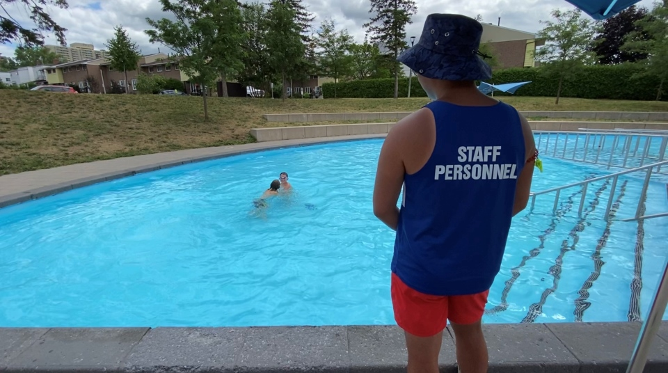 An Ottawa lifeguard watching over swimmers in the wading pool at Jules Morin Park in Lowertown. July 21, 2020. Ottawa, ON. (Tyler Fleming / CTV News Ottawa)