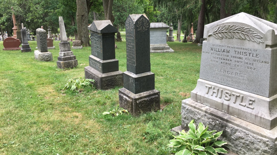 A Stratford company has stepped up to fix tombstones vandalized earlier this month (Stephanie Villella / CTV News Kitchener)