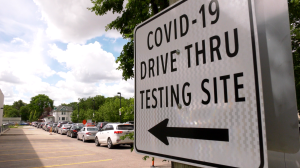 Lineups at a Winnipeg community COVID-19 testing site on July 21, 2020. (Source: Glenn Pismenny/ CTV News Winnipeg)