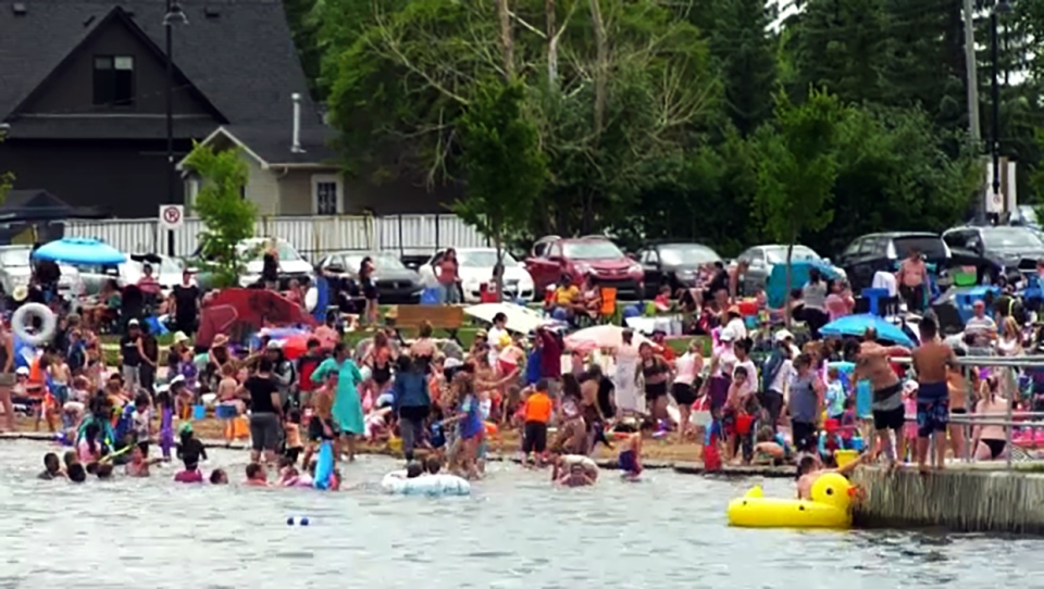 Chestermere announced limits on the capacity of its three beaches Tuesday