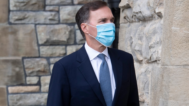 Minister of Finance Bill Morneau leaves West block following Question Period in Ottawa, Monday July 20, 2020. THE CANADIAN PRESS/Adrian Wyld