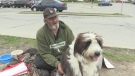 Mick Watson is seen with his dog Bender in London, Ont. in May 2018. (CTV News)
