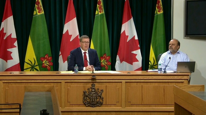 Saskatchewan Premier Scott Moe and Chief Medical Health Officer Dr. Saqib Shahab address the province after reporting 60 new COVID-19 cases on July 22, the highest increase to-date.