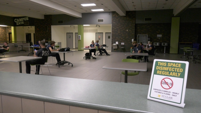 Almost 300 students back for on-campus learning with new safety measures in place at St. Clair College in Windsor, Ont. on Monday, July 22 2020 (Bob Bellacicco/CTV News)