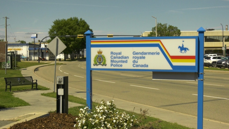 Red Deer RCMP detachment sign. July 22, 2020. (Nav Sangha/CTV News Edmonton)
