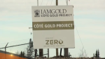 A sign describing the IAMGOLD Mine Project (Sergio Arangio/CTV Northern Ontario)