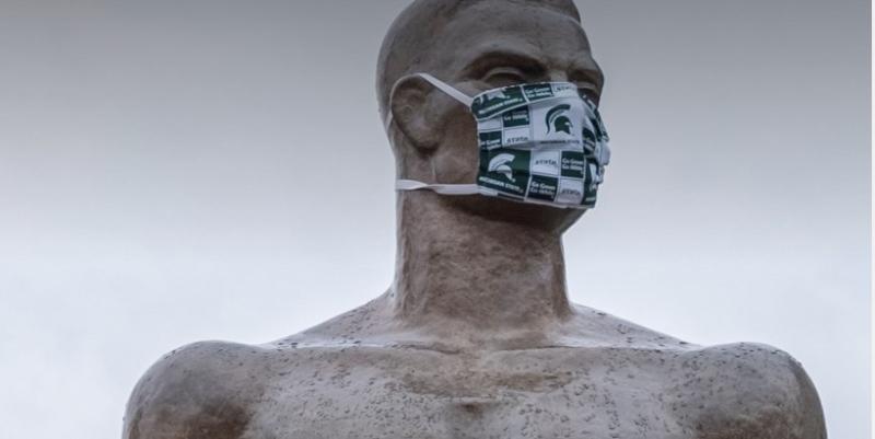 Michigan State University masked statue. (Courtesy MSU.edu.com)