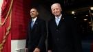 FILE - In this Jan. 20, 2017, file photo, President Barack Obama and Vice President Joe Biden arrive for the Presidential Inauguration of Donald Trump at the U.S. Capitol in Washington. (Saul Loeb/Pool Photo via AP, File)