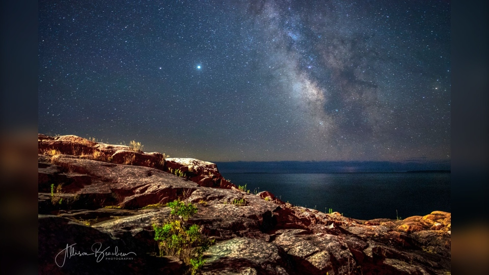 Photo of Milky Way in the northern Ontario sky seen from a Killarney lighthouse. July 2020 (Allison Beaulieu)