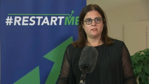 Families Minister Heather Stefanson speaks on July 23, 2020/