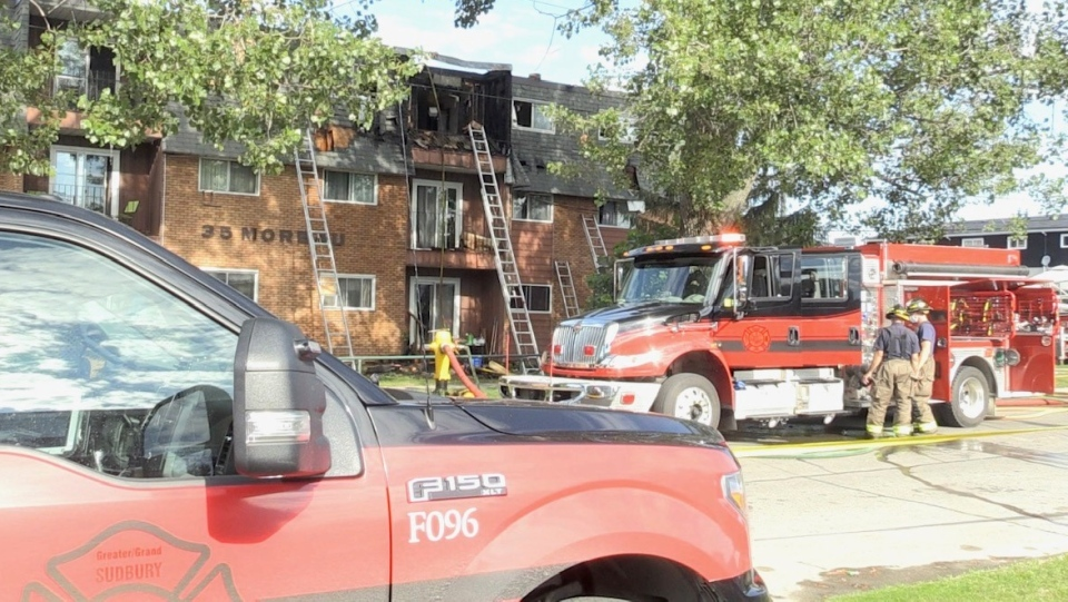 Sudbury firefighters at Moreau Street apartment