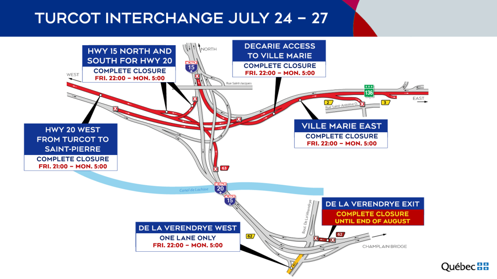 Turcot Interchange closures from July 24 to 27