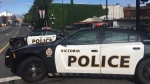 Police respond to a temporary housing facility in downtown Victoria. (CTV News)