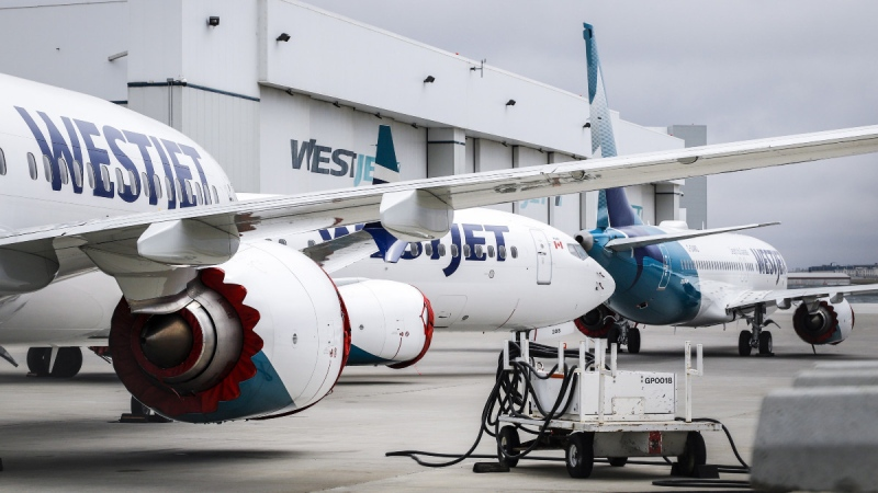 WestJet Boeing 737 Max aircraft are shown at the airline's facilities in Calgary, Alta., on May 7, 2019. (Jeff McIntosh / THE CANADIAN PRESS)