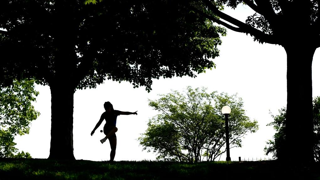 Hacky sack in Major's Hill Park in Ottawa