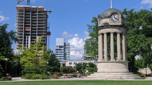 The clocktower in Kitchener's Victoria Park is shown in this file image (Matthew Ethier / CTV News Kitchener)