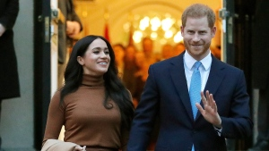 In this Tuesday, Jan. 7, 2020 file photo, Britain's Prince Harry and Meghan, Duchess of Sussex leave after visiting Canada House in London. (AP Photo/Frank Augstein, File)