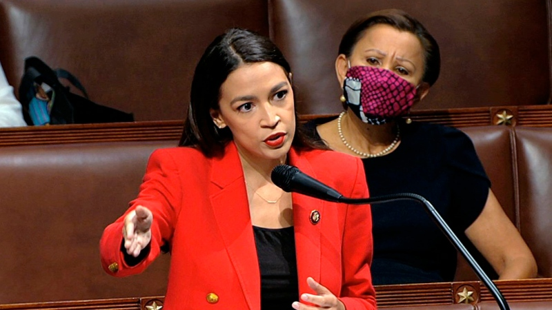 In this image from video, Rep. Alexandria Ocasio-Cortez, D-N.Y., speaks on the House floor, Thursday, July 23, 2020 on Capitol Hill in Washington. (House Television via AP)