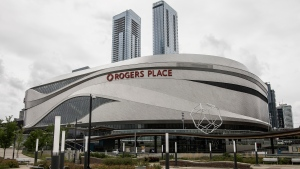 Home of the NHL's Edmonton Oilers Rogers Place arena is shown in Edmonton, Alta., on Thursday July 2, 2020. (THE CANADIAN PRESS / Jason Franson)