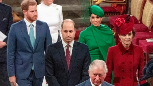 FILE - In this Monday March 9, 2020, file photo, from left, Britain's Prince Harry, Prince William, Meghan Duchess of Sussex and Kate, Duchess of Cambridge leave the annual Commonwealth Service at Westminster Abbey in London. (Phil Harris/Pool via AP, file)