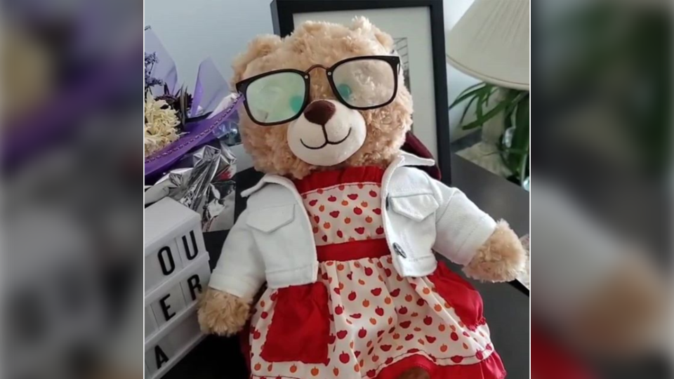 Mara Soriano's teddy bear, which has a recording of her late mother's voice, was in a Herschel  backpack that was stolen from Vancouver's West End on July 24, 2020. (Mara Soriano)