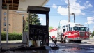 Saskatoon firefighters respond to a fire at an abandoned gas station on 20th Street West and Avenue W. Andrew Mareschal/CTV Saskatoon