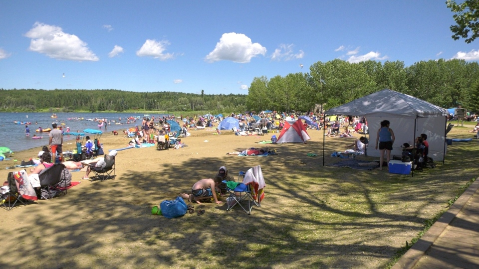 Crowds at Wabamun Provincial Park in Alberta on July 26, 2020.
