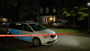 Montreal police investigate after shots were fired in Dollard-des-Ormeaux. (Photo: Cosmo Santamaria/CTV)