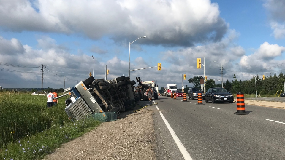 A truck rolled over on Highway 7/8