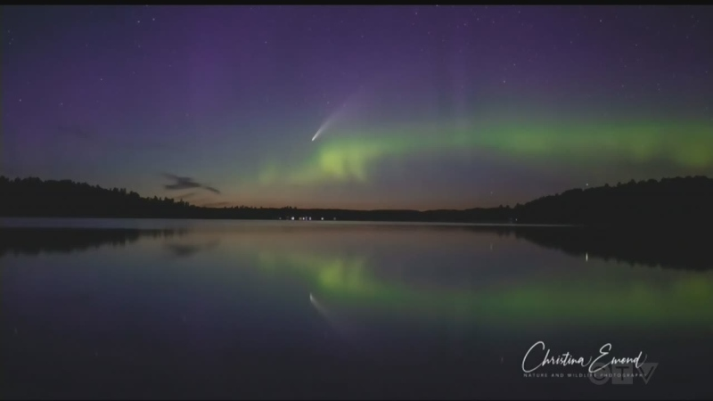 Aurora borealis and comet NEOWISE captured by Christina Emond.