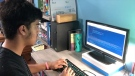 Ryan Rodrigs, 16, has developed a COVID-19 app for Android and iOS devices that sends reminders about mask use and hand hygiene and includes links to government information sources. (Dave Charbonneau / CTV News Ottawa)