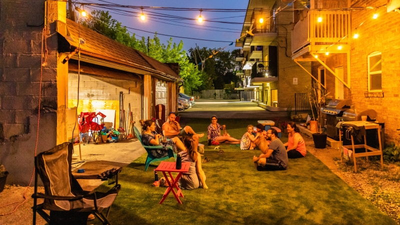 A group of Toronto residents transformed a paved parking lot into a backyard space for neighbourhood children and families to share. (Dan Eliasoph)