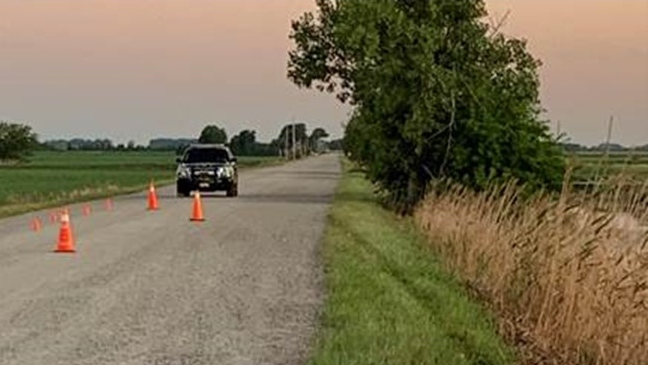 Emergency crews responded to a single-vehicle collision on Jacob Road near Given Line in Chatham-Kent on Monday, July 28, 2020. (Courtesy Chatham-Kent police)