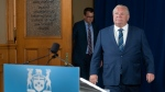 Ontario Premier Doug Ford arrives for the daily briefing at Queen's Park in Toronto on Friday, July 3, 2020. THE CANADIAN PRESS/Frank Gunn