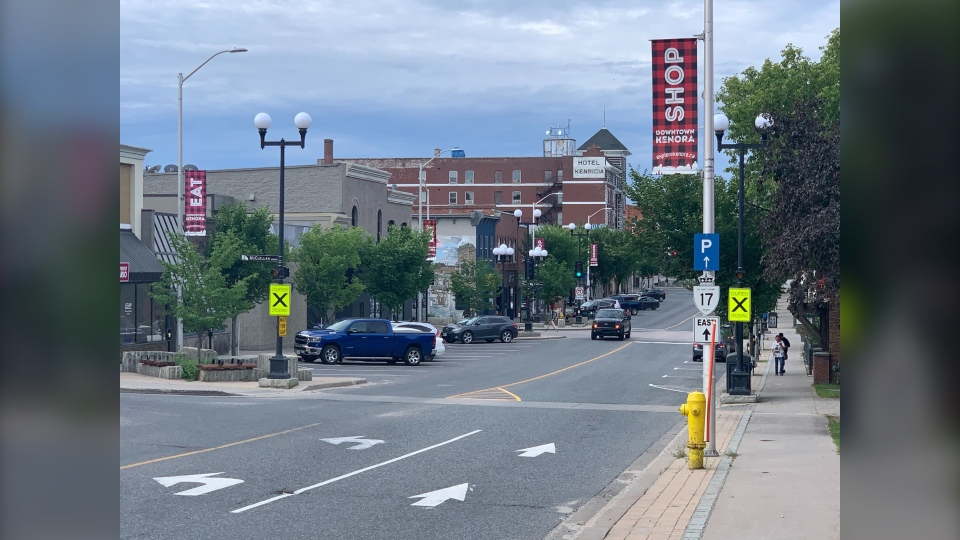 Downtown Kenora, Ontario is pictured in July 2020. Ontario's Northwestern Health Unit, which Kenora is a part of, is making masks and face coverings mandatory in all indoor enclosed public spaces starting August 17.(CTV News Photo Jamie Dowsett)