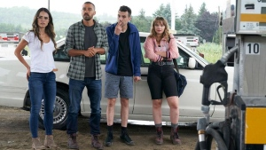 "Jay Baruchel, Jordana Brewster, Jesse Williams, and Niamh Wilson in ""Random Acts of Violence."" (Elevation Pictures)"