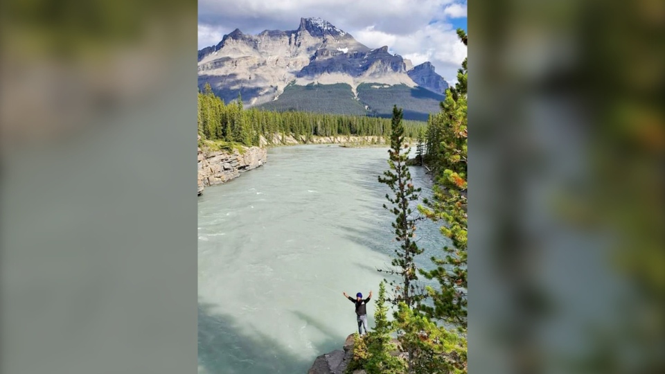 One of the final photos taken of Gagandeep Singh Khalsa, who fell into the North Saskatchewan River in Banff National Park in July 2020 while hiking with friends. (Supplied)