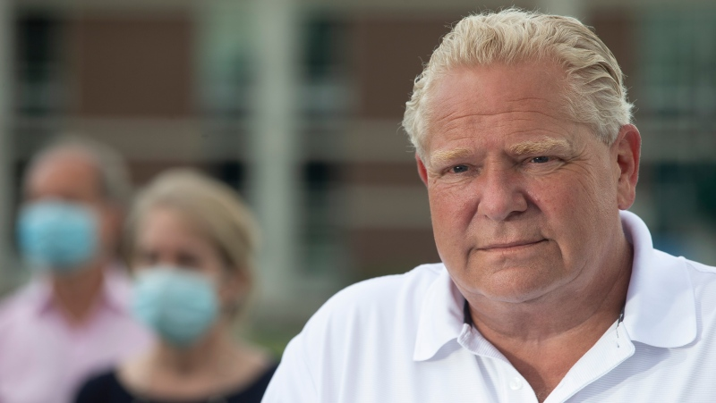 Ontario Premier Doug Ford takes a question from the media during an announcement in Ajax, Ont., on Tuesday, July 28, 2020. THE CANADIAN PRESS/Chris Young