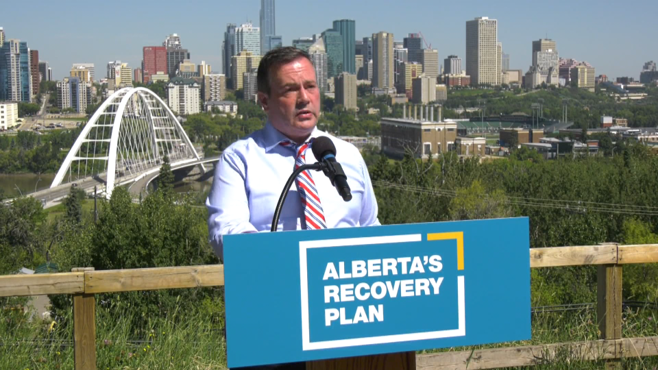 Alberta Premier Jason Kenney announces on July 28, 2020, his government will match about $300 million in financial relief from the federal government.