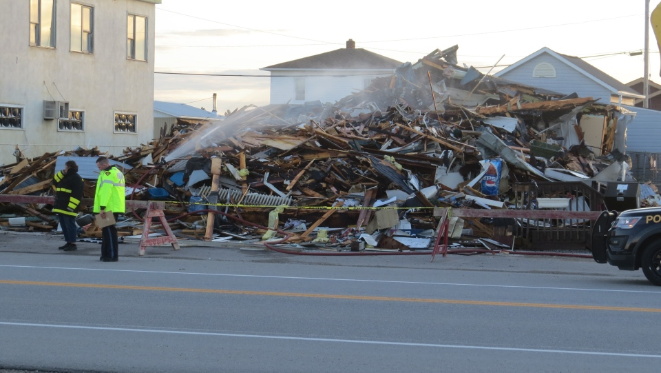 Former building now a pile of rubble after fire