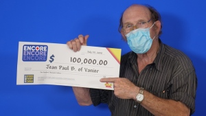 Jean-Paul Bastien of Vanier won $100,000 on ENCORE. (Photo courtesy: OLG)