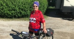 Henrietta Mulder of Ingersoll, Ont. plans to cycle at least 400 kilometres in memory of her daughter and for kids with cancer as seen Wednesday, July 29, 2020. (Sean Irvine / CTV News)