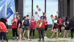 Education workers and parents in Sault Ste. Marie joined others from across the province in protest Wednesday, demanding a safe return to schools. (Christian D'Avino/CTV News)