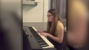 Tonight's closing song is from 16-year old musician Gabrielle Perreault of Cochrane. She's at the piano and singing 'Falling' by Harry Styles.